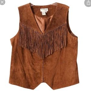 NorthStyle Plus size leather vest with fringe